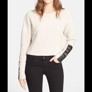 Autumn Cashmere crop sweater with leather trim M